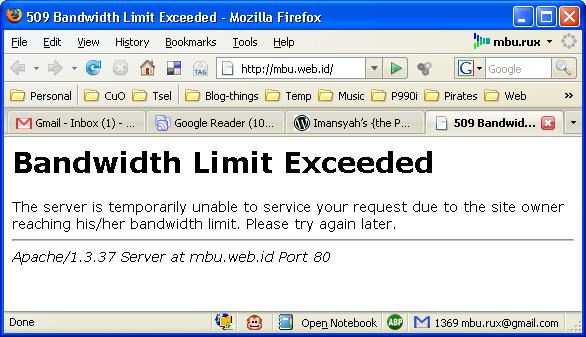 عند زيارة موقعي تظهر لي عبارة: Bandwidth Limit Exceeded فماذا تعني Bandwidth-exceeded